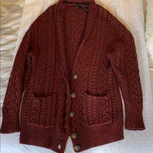 Burgundy Maroon Knitted Oversized Cardigan